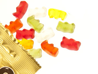 Photo of an opened bag of gummy bears
