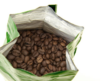 Photo of an opened package of coffee