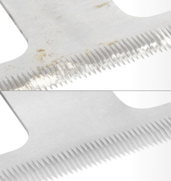 Photo of a knife before and after refurbishment